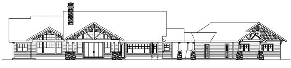 Bungalow Cottage Country Craftsman Ranch Rear Elevation of Plan 59732