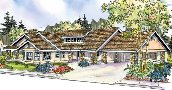 European Florida Ranch House Plan 59733 Elevation