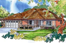 House Plan 59734 | Bungalow Craftsman European Ranch Style Plan with 1908 Sq Ft, 3 Bedrooms, 2 Bathrooms, 2 Car Garage Elevation