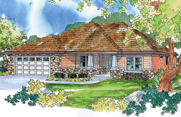 Bungalow Craftsman European Ranch House Plan 59734 Elevation