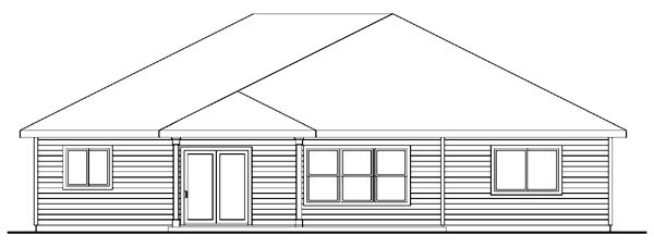 Bungalow Craftsman European Ranch House Plan 59734 Rear Elevation