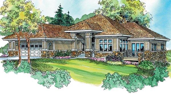 Contemporary European Florida Ranch House Plan 59735 Elevation