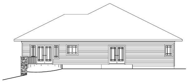 Contemporary European Florida Ranch House Plan 59735 Rear Elevation