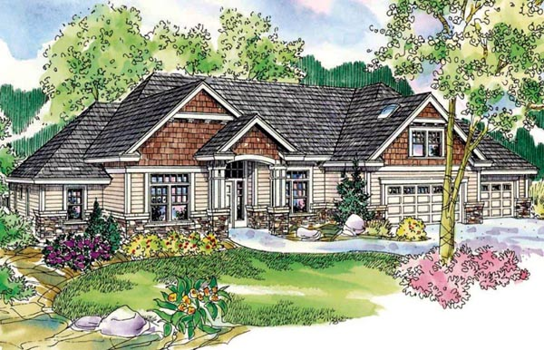 House Plan 59737 | Cottage Style Plan with 2689 Sq Ft, 3 Bedrooms, 3 Bathrooms, 3 Car Garage Elevation