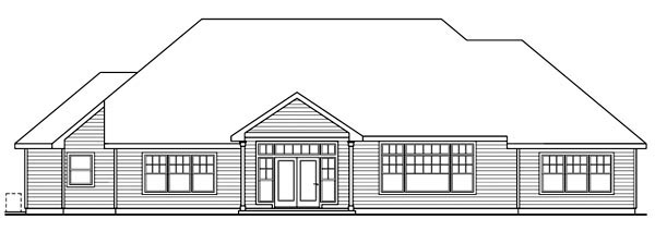 House Plan 59737 | Cottage Style Plan with 2689 Sq Ft, 3 Bedrooms, 3 Bathrooms, 3 Car Garage Rear Elevation