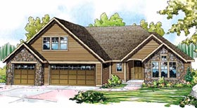House Plan 59740 | Contemporary Style Plan with 2590 Sq Ft, 3 Bedrooms, 3 Bathrooms, 3 Car Garage Elevation