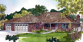 European , Ranch , Traditional House Plan 59741 with 3 Beds, 2 Baths, 3 Car Garage Elevation