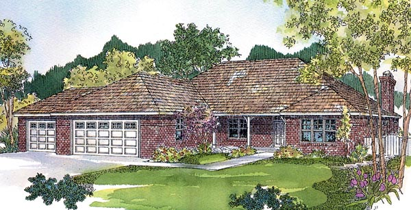 European, Ranch, Traditional House Plan 59741 with 3 Beds, 2 Baths, 3 Car Garage Elevation