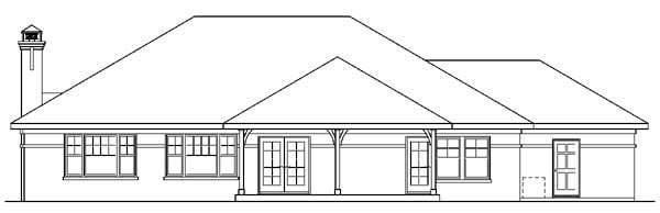 European, Ranch, Traditional House Plan 59741 with 3 Beds, 2 Baths, 3 Car Garage Rear Elevation