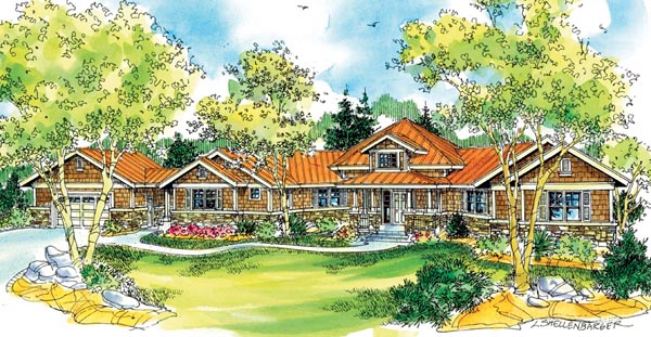 Bungalow Cape Cod Craftsman Florida Ranch House Plan 59742 Elevation