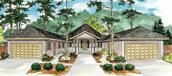 Contemporary, Florida, Mediterranean, Ranch House Plan 59743 with 3 Beds, 2 Baths, 4 Car Garage Elevation
