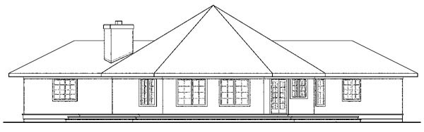 Contemporary Florida Mediterranean Ranch House Plan 59743 Rear Elevation