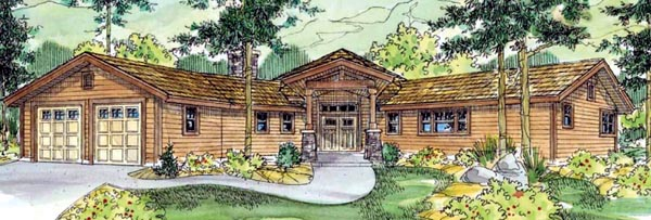 Contemporary Country Craftsman Ranch House Plan 59744 Elevation