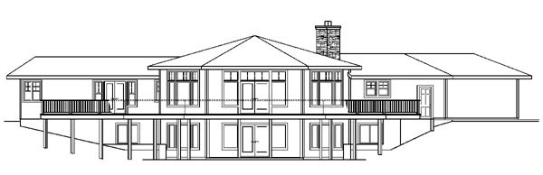 Contemporary Country Craftsman Ranch House Plan 59744 Rear Elevation