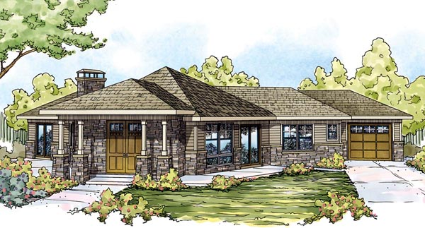 Contemporary Cottage Craftsman European House Plan 59747 Elevation