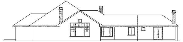 Contemporary European Florida Ranch House Plan 59748 Rear Elevation