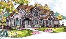 European House Plan 59750 with 4 Beds, 4 Baths, 3 Car Garage Elevation