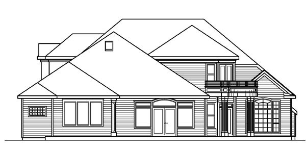 European House Plan 59750 with 4 Beds, 4 Baths, 3 Car Garage Rear Elevation