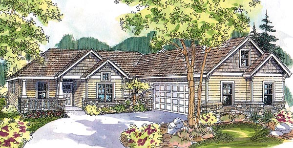Country Craftsman Ranch House Plan 59751 Elevation