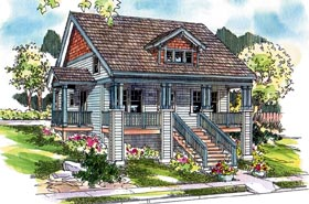 Bungalow , Country , Craftsman , Farmhouse House Plan 59753 with 3 Beds, 3 Baths, 2 Car Garage Elevation