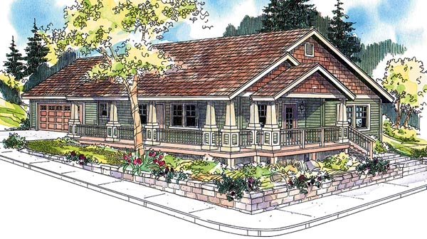 Cottage Country Craftsman Ranch House Plan 59754 Elevation