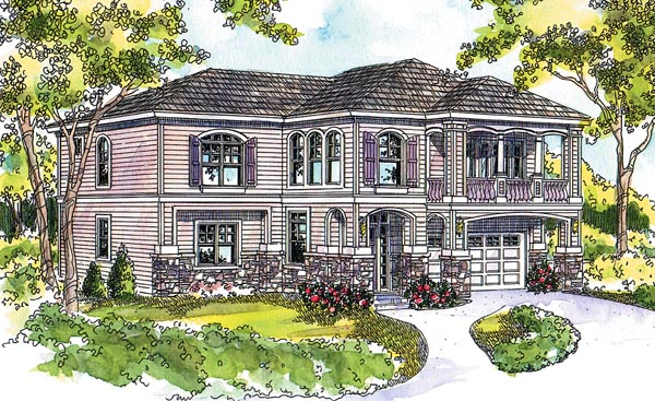 Traditional , European House Plan 59756 with 3 Beds, 4 Baths, 2 Car Garage Elevation