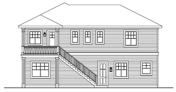 European , Traditional , Rear Elevation of Plan 59756