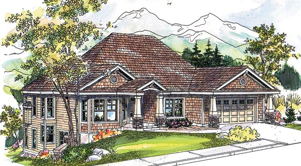 Bungalow Contemporary Cottage Craftsman House Plan 59757 Elevation