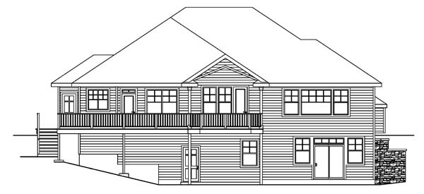 Bungalow Contemporary Cottage Craftsman House Plan 59757 Rear Elevation