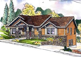 Bungalow Contemporary Cottage Craftsman House Plan 59759 Elevation