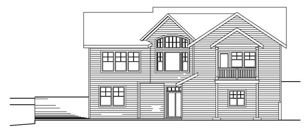 Bungalow Contemporary Cottage Craftsman House Plan 59759 Rear Elevation