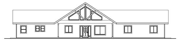 Contemporary Ranch House Plan 59760 Rear Elevation