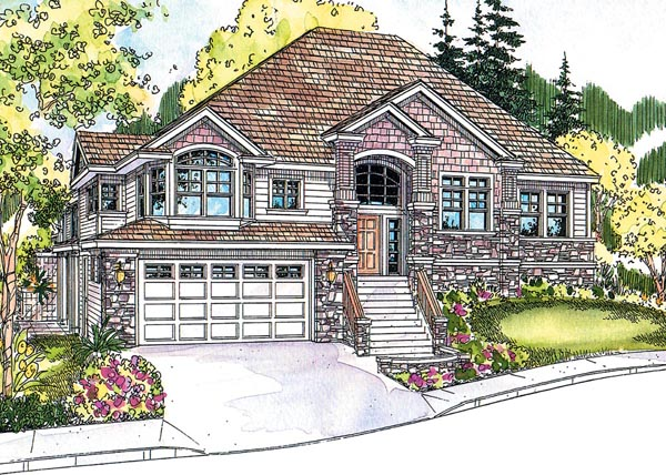 Contemporary Craftsman European Traditional House Plan 59761 Elevation