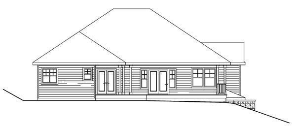 Contemporary Craftsman European Traditional House Plan 59761 Rear Elevation