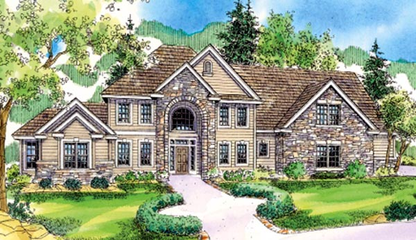 European Traditional Tudor House Plan 59763 Elevation