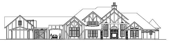 European Tudor House Plan 59764 Rear Elevation
