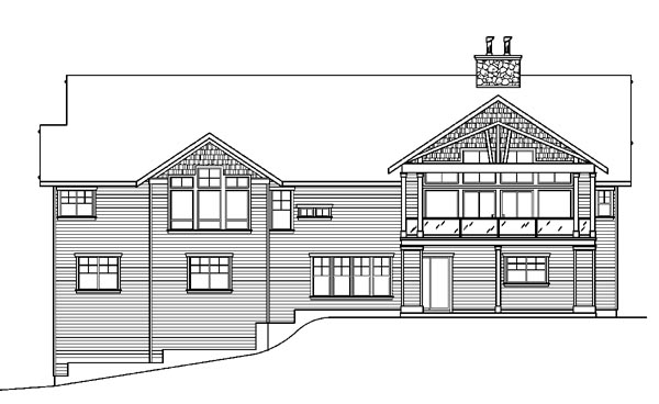 Bungalow Cottage Country Craftsman House Plan 59765 Rear Elevation