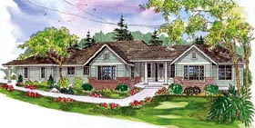 Contemporary European Ranch Traditional House Plan 59766 Elevation