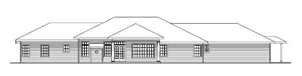 Contemporary European Ranch Traditional House Plan 59766 Rear Elevation