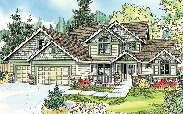 Bungalow, Cottage, Country, Craftsman, European House Plan 59767 with 4 Beds, 3 Baths, 3 Car Garage Elevation