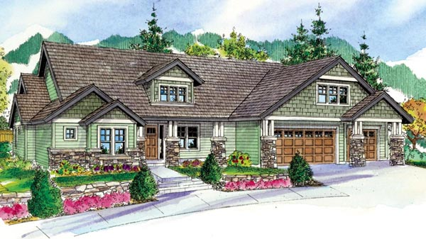 Bungalow Country Craftsman Ranch House Plan 59768 Elevation