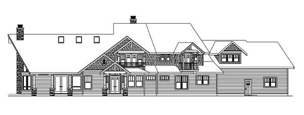 Bungalow Craftsman House Plan 59769 Rear Elevation