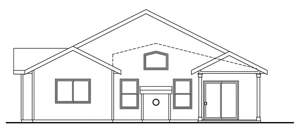 Bungalow Cottage Country Craftsman Ranch House Plan 59770 Rear Elevation