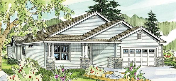House Plan 59771 | Cottage Country Craftsman Ranch Style Plan with 1610 Sq Ft, 3 Bedrooms, 2 Bathrooms, 2 Car Garage Elevation