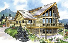 House Plan 59774 | Cabin, Contemporary, Country Style House Plan with 1987 Sq Ft, 2 Bed, 3 Bath, 1 Car Garage Elevation