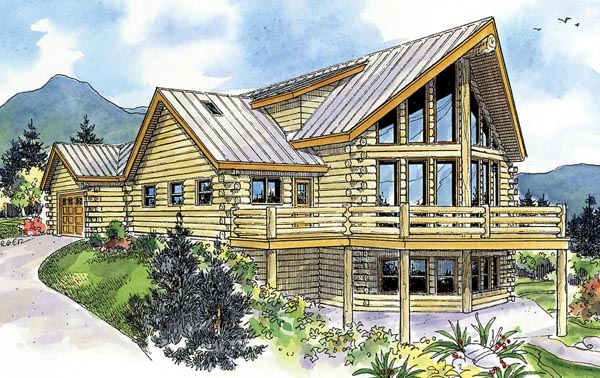 Cabin Contemporary Country House Plan 59774 Elevation