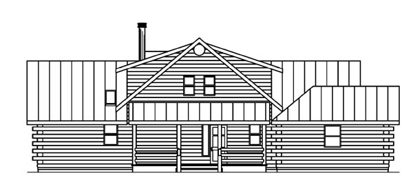 Cabin Contemporary Country House Plan 59774 Rear Elevation