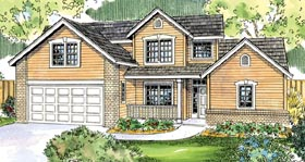 Contemporary , Cottage House Plan 59775 with 3 Beds, 3 Baths, 2 Car Garage Elevation