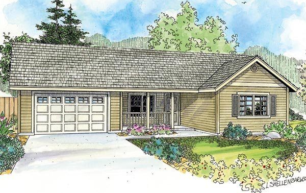 Contemporary Cottage Country Ranch Elevation of Plan 59777
