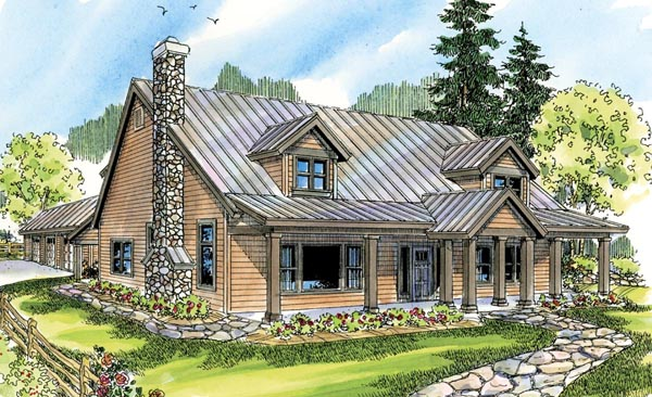 Cabin Cottage Country House Plan 59779 Elevation